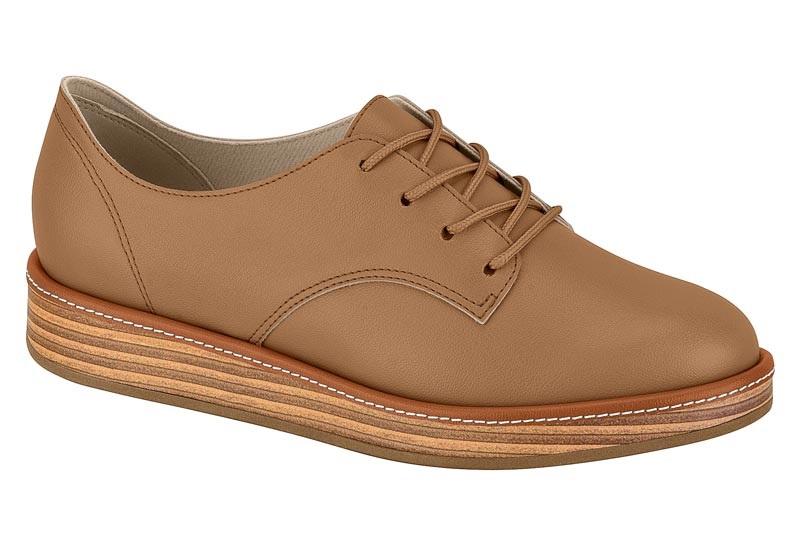 Sapato Feminino Oxford Beira Rio Napa Camel - 4235201