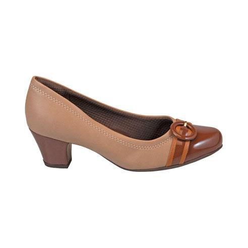 Sapato Piccadilly Feminino 111088 Napa Caramelo Bico Verniz Chocolate Salto Fachetado