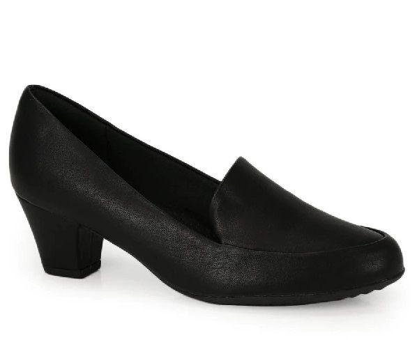 Sapato Feminino Piccadilly Slipper - 110102 - Napa Preto Salto Forrado