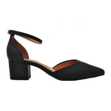 Sapato Feminino Salto Baixo Forrado Bico Fino Vizzano Preto - 1220117