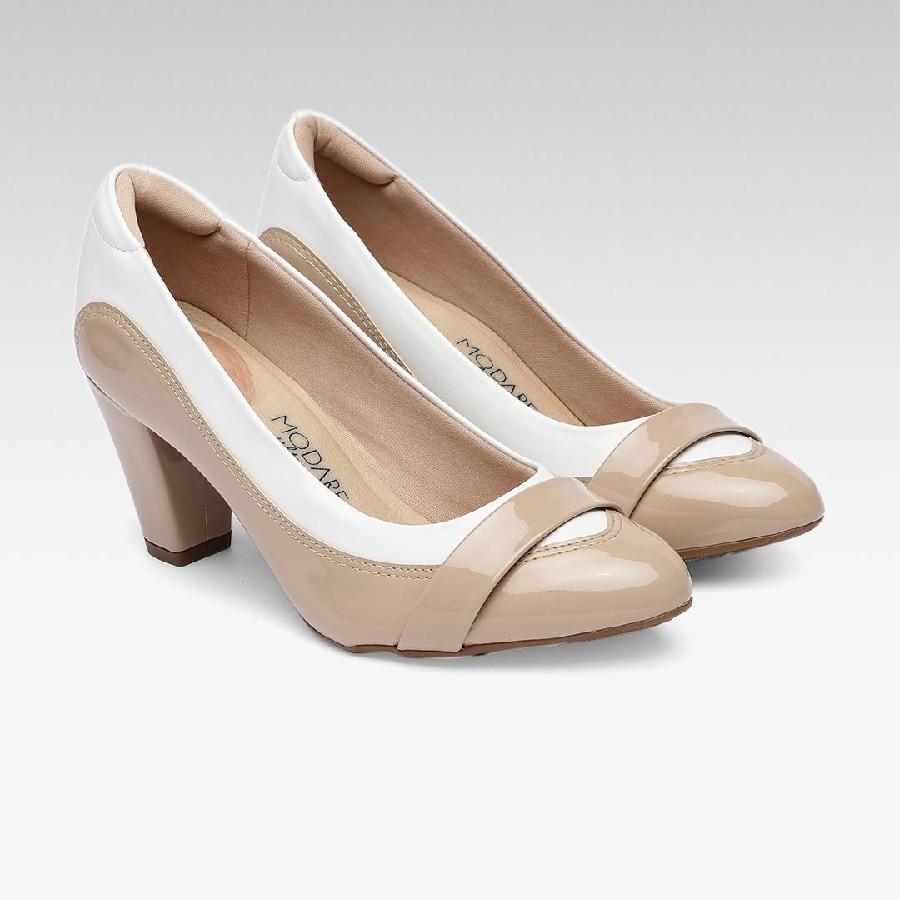Sapato Modare Salto Alto Verniz Premium Bege/Napa Branco - 7305129