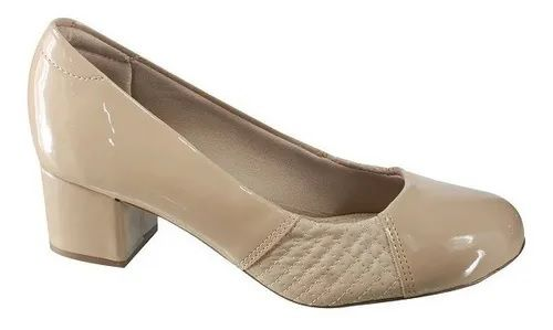 Sapato Modare Salto Baixo Verniz Premium Bege, Pele Strech Bege - 7316108