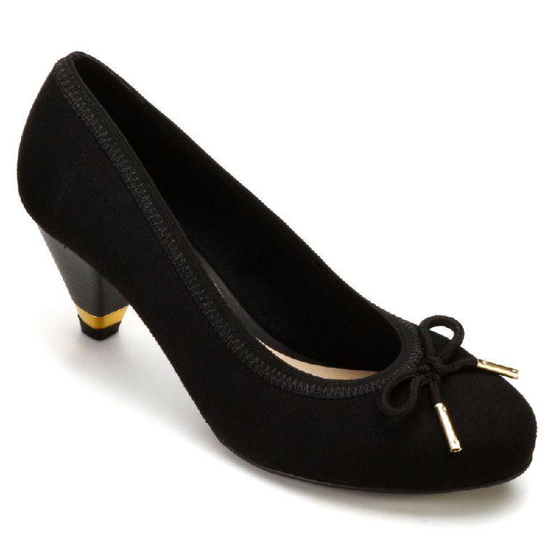 Sapato Moleca Salto Medio Camurça Flex Preto Com Detalhe de Laço - 5633102