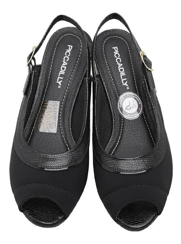 Sapato Peep Toe Chanel Piccadilly Salto Médio Elastano Joanete Preto - 114014