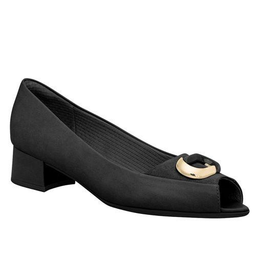 Sapato Peep Toe Piccadilly Salto Médio com Enfeite Preto Salto Forrado na Cor Napa Preto/Microfibra Cobra Preto - 114027