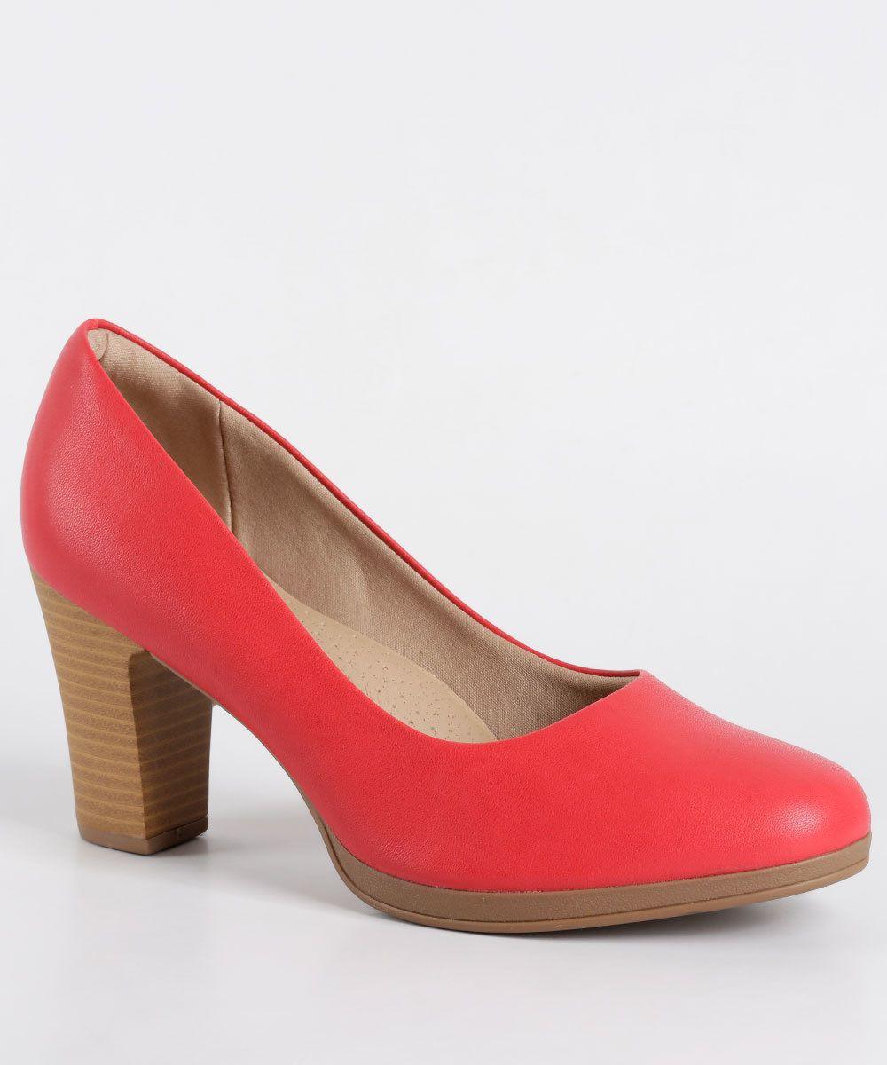 Sapato Piccadilly Feminino 130185 Vermelho Napa