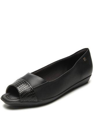 Sapato Piccadilly Peep Toe Confort - 103014 - Preto Verniz Croco e Napa Preto