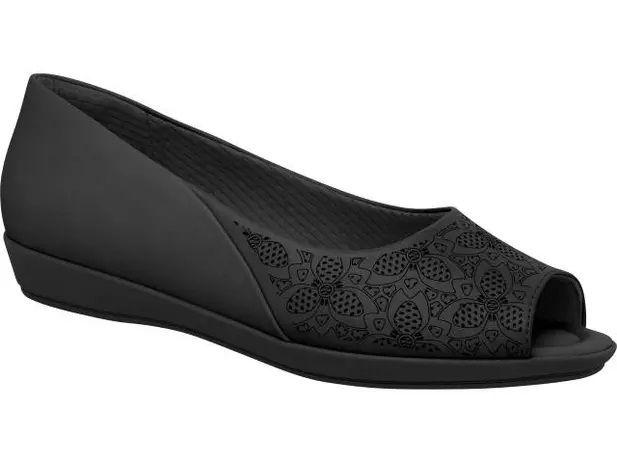 Sapato Piccadilly Peep Toe Confort Joante - 103015 - Napa Strecht Preto