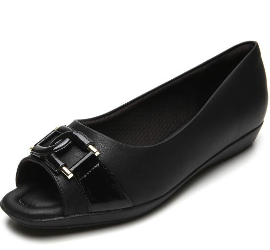 Sapato Piccadilly Peep Toe Confort - 103017 - Napa Preto Verniz Preto