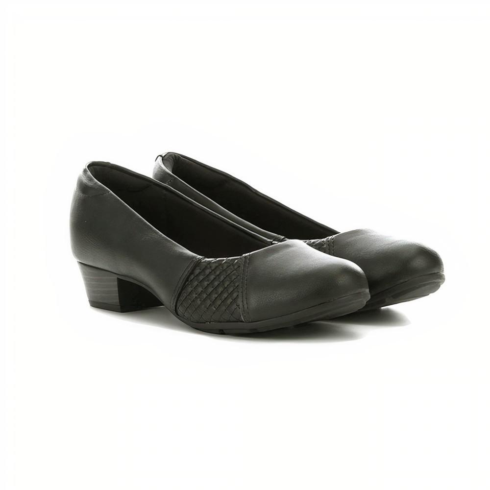 Sapato Salto Baixo Fachetado Modare Napa Cristalina/Pele Strech Preto - 7032534