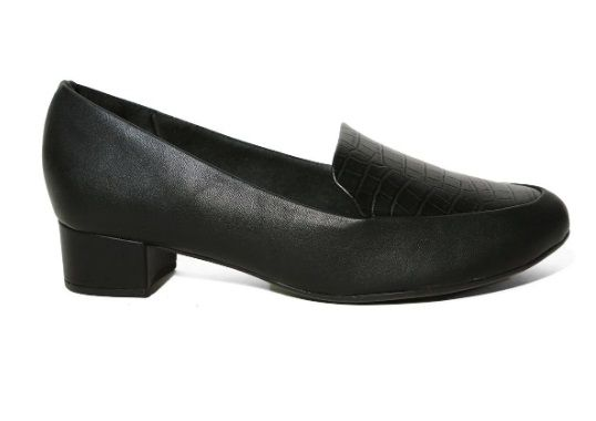 Sapato Salto Baixo Forrado Piccadilly Napa Preto Napa Croco Preto - 140105-186