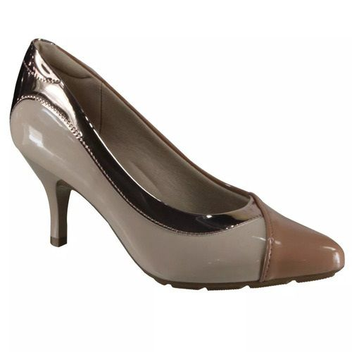 Sapato Scarpin Modare Ultra Conforto Verniz Premium Nude Verniz Premium Bege e Metal Rosado - 7013624