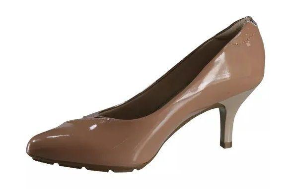 Sapato Scarpin Modare Ultra Conforto Verniz Premium Nude Verniz Premium Bege e Metal Rosado - 7013104
