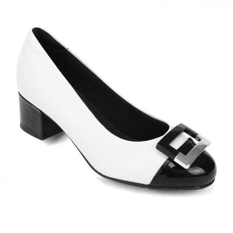 Sapato Scarpin Modare Ultra Conforto Salto Grosso Napa Sense Flex Branco/Verniz Premium Preto - 7316107