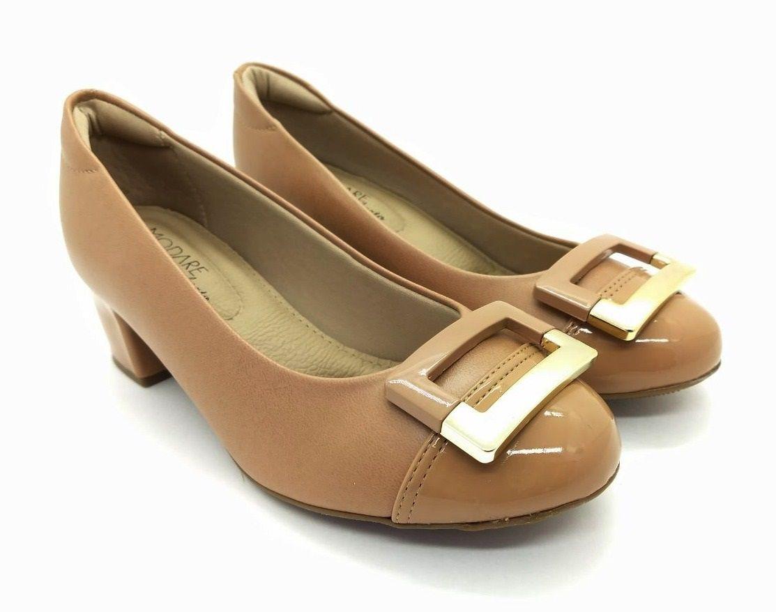 Sapato Scarpin Modare Ultra Conforto Salto Grosso Napa Sense Flex/Verniz Premium Nude - 7316107