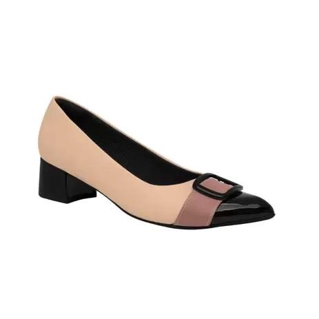 Sapato Scarpin Piccadilly Salto Bloco Baixo Napa Rose/Preto/Rosa - 739009