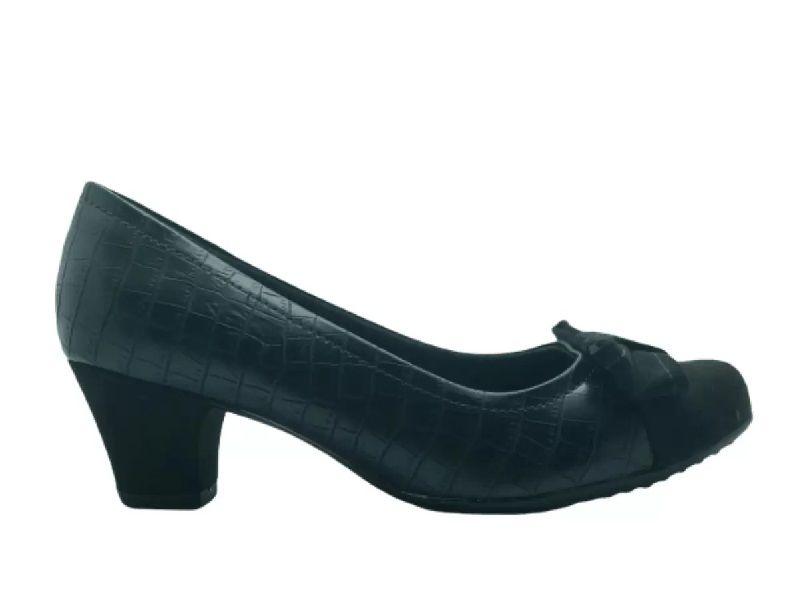 Sapato Scarpin Salto Médio Piccadilly - 111079 - Napa Croco Preto Salto Forrado