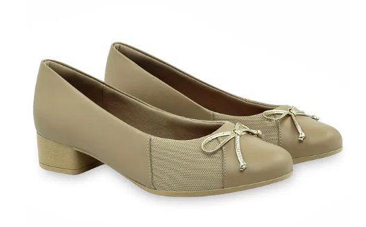 Sapato Couro Usaflex AB6804 Linha Care Joanetes Avelã Salto Forrado