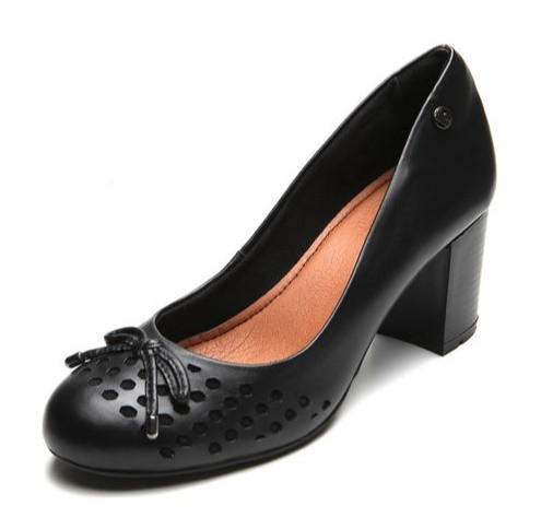 Sapato Bottero Salto Alto Quadrado Couro Tanino Preto - 305502