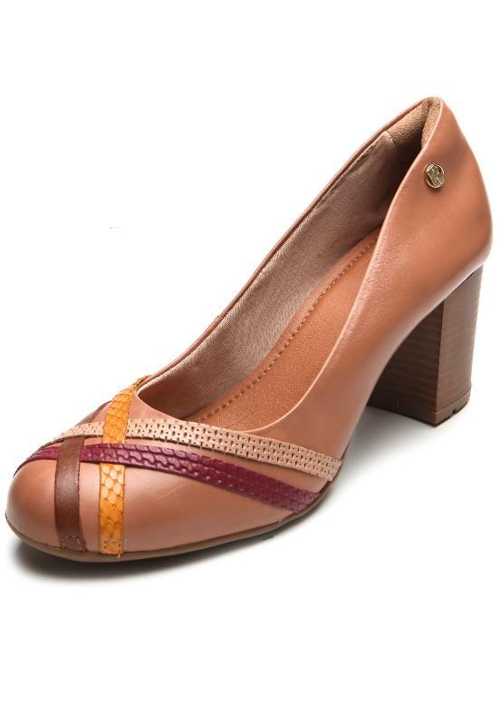 Sapato Bottero Salto Alto Quadrado Couro Tanino Caramelo - 305504