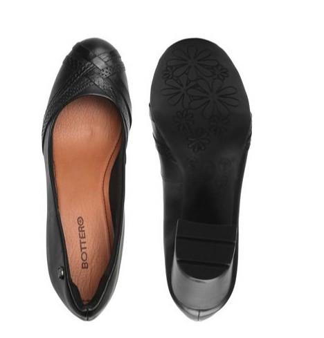 Sapato Bottero Salto Alto Quadrado Couro Tanino Preto - 305504