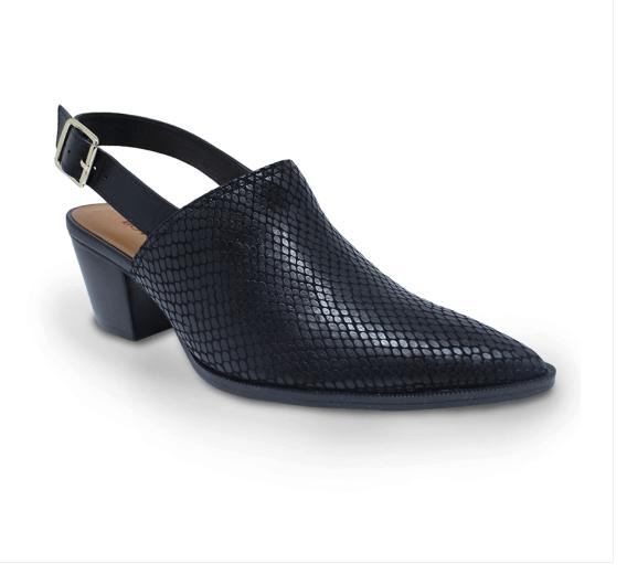 Sapato Bottero Salto Fachetado Alto Couro Viper Caseina Preto - 305602