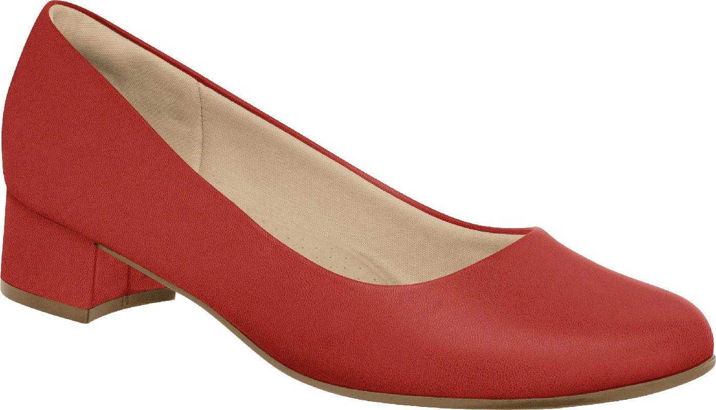 Scarpin Piccadilly Salto Forrado Baixo Napa Vermelho - 140110