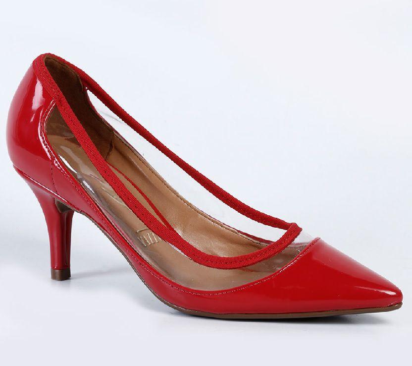 Scarpin Vizzano Salto Médio Forrado Verniz Premium Vermelho/Vinil Superflex Transparente - 1185163