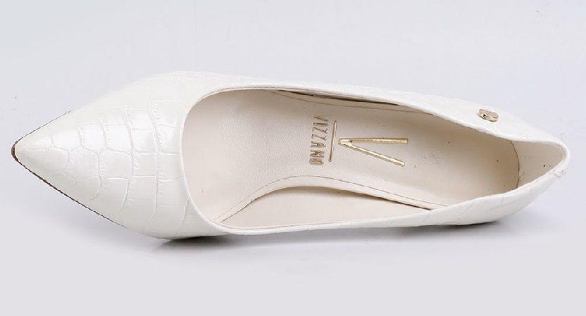 Scarpin Vizzano Salto Medio Textura Croco Misto Branco OFF - 1185402