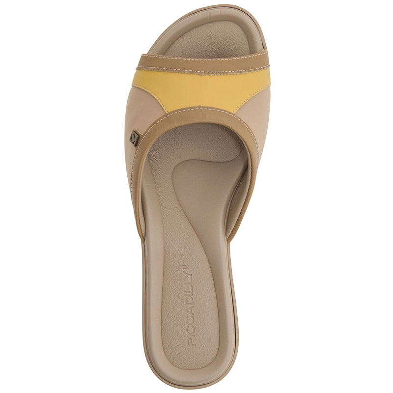 Tamanco Rasteira Piccadilly Feminino Napa Elastano Joanete 500159 Tan Nude com Amarelo
