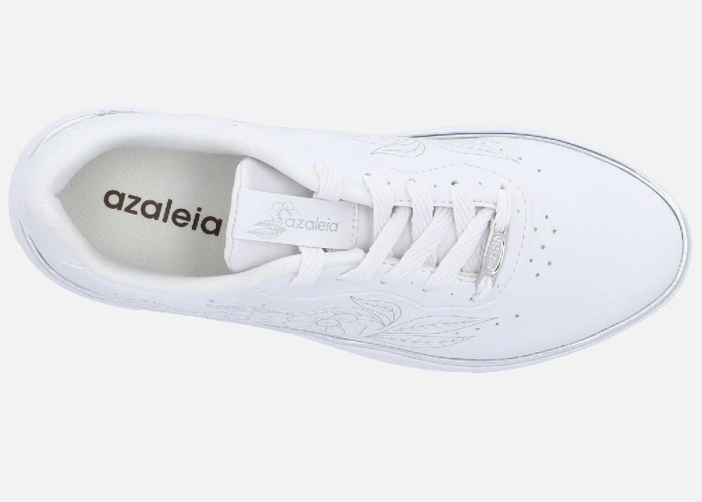 Tenis Casual Azaleia Flatform Friso Metalizado Branco - 849
