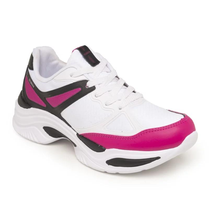 Tênis Feminino Azaleia Napa Tecido 885/523 Preto com Pink