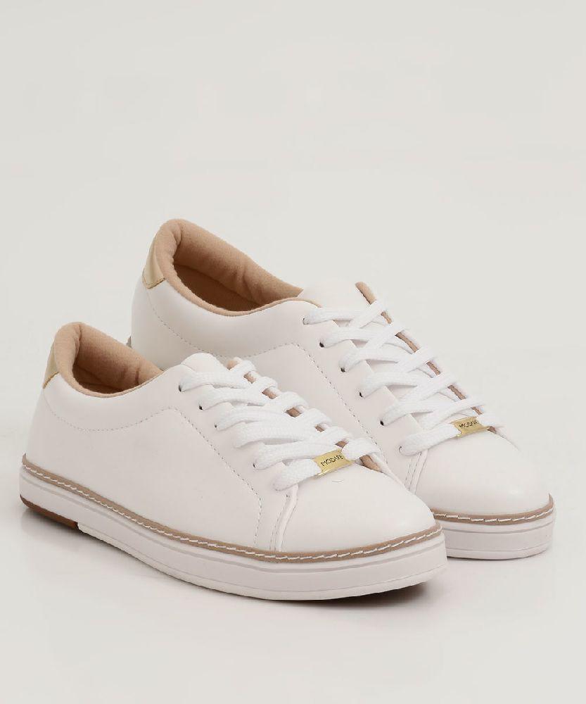 Tênis Feminino Modare Casual Napa Sense Flex Branco, Recorte Metalizado Premium Dourado - 7335110