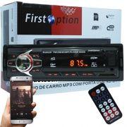 Auto Rádio Som Mp3 Player Automotivo Carro Bluetooth First Option 6680BSC Fm Sd Usb Controle