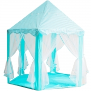 Barraca Infantil Toca Castelo Princesa com Luz Led Cabana Tenda Azul Brinqway BW132AZ