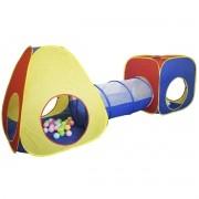 Barraca Infantil Toca Túnel 3x1 Dobrável com Bolinhas Menino Menina Cabana Colorida Brinqway BW-067