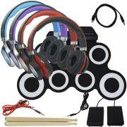 Bateria Eletrônica Musical Silicone Digital 7 Pads 2 Pedais Baqueta IW-G3002 com Headfone