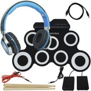 Bateria Eletrônica Musical Silicone Digital 7 Pads 2 Pedais Baqueta IW-G3002 com Headfone Preto Azul