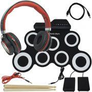 Bateria Eletrônica Musical Silicone Digital 7 Pads 2 Pedais Baqueta IW-G3002 Headfone Preto Vermelho