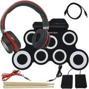 Bateria Eletrônica Musical Silicone Digital 7 Pads 2 Pedais Baqueta IW-G3002 Headfone Vermelho Preto