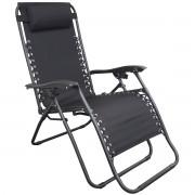 Cadeira Espreguiçadeira Dobrável 21 Posições Praia Piscina Camping Preta Importway IWCE-021