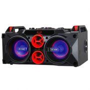 Caixa Som Amplificada Bateria Bluetooth 150W Rms Mp3 Fm Usb Sd Aux Led Bivolt Amvox ACA 768 Preta