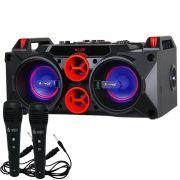 Caixa Som Amplificada Bluetooth 150W Rms Mp3 Fm Usb Sd Aux Led com 2 Microfones Bivolt Amvox ACA 768
