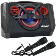 Caixa Som Amplificada Bluetooth 80W Rms Mp3 Fm Usb Aux Led + 2 Microfones Bivolt Amvox ACA 110 Black