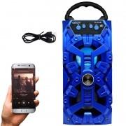 Caixa Som Amplificada Portátil Bluetooth Mp3 Fm Usb Sd Aux Bateria 8W Rms Exbom Azul CS-M232BT