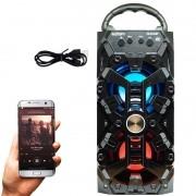 Caixa Som Amplificada Portátil Bluetooth Mp3 Fm Usb Sd Aux Bateria 8W Rms Exbom Preta CS-M232BT