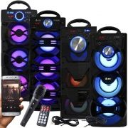 Caixa Som Portátil Bluetooth Amplificada Mp3 Fm Usb Sd Microfone Bateria 18W Rms Preta Infokit