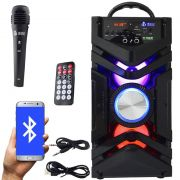 Caixa Som Portátil Bluetooth Mp3 Fm Usb Sd Aux Microfone Bateria 12W Rms Infokit Preta VC-M866BT