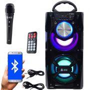 Caixa Som Portátil Bluetooth Mp3 Fm Usb Sd Aux Microfone Bateria 12W Rms Infokit Preta VC-M867BT