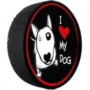 Capa Pneu Roda Estepe Universal com Cadeado Anti Furto Aro 14 à 16 Carrhel 480 I Love Dog My Dog